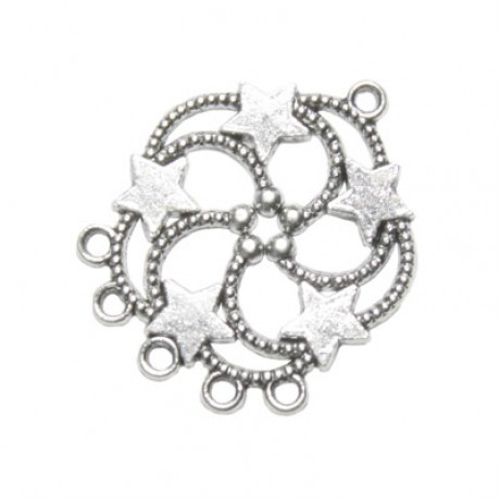 Pandantiv metalic cu 6 orificii - cu stele