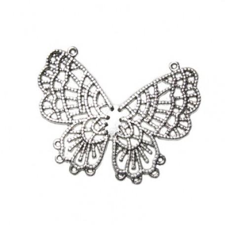 Pandantiv metalic cu 10 orificii - fluture
