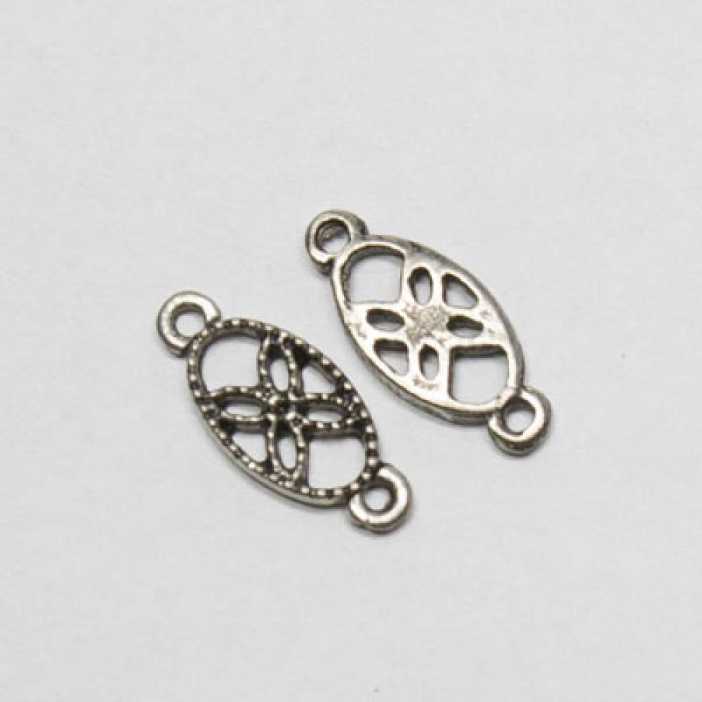 Pandantiv metalic cu 2 orificii - oval